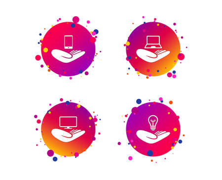 Helping hands icons. Intellectual property insurance symbol. Smartphone, TV monitor and pc notebook sign. Device protection. Gradient circle buttons with icons. Random dots design. Vector