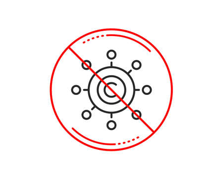 No or stop sign. Copywriting network line icon. Copyright sign. Content networking symbol. Caution prohibited ban stop symbol. No  icon design.  Vector