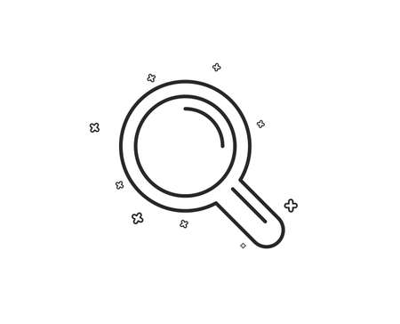 Research line icon. Magnifying glass symbol. Magnifier sign. Geometric shapes. Random cross elements. Linear Research icon design. Vector