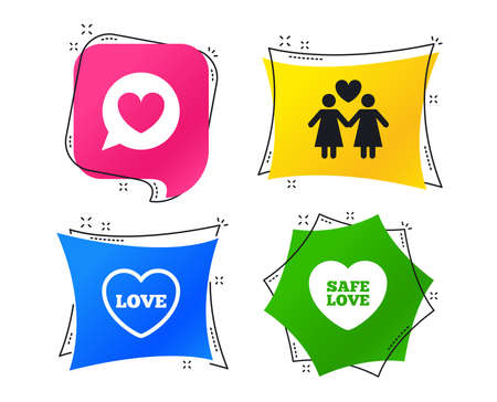 Lesbians couple sign. Speech bubble with heart icon. Female love female. Heart symbol. Geometric colorful tags. Banners with flat icons. Trendy design. Vector