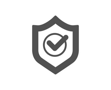 Approved shield icon. Accepted or confirmed sign. Protection symbol. Quality design element. Classic style icon. Vector Çizim