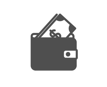 Wallet with Cash money icon. Dollar currency sign. Payment method symbol. Quality design element. Classic style icon. Vector