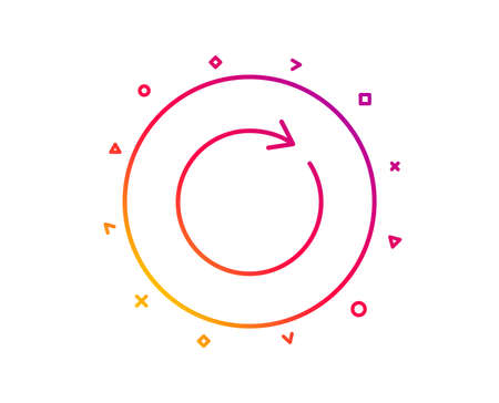Refresh line icon. Rotation arrow sign. Reset or Reload symbol. Gradient pattern line button. Synchronize icon design. Geometric shapes. Vector Vector Illustration