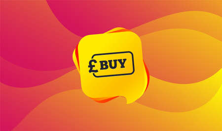 Buy sign icon. Online buying Pound gbp button. Wave background. Abstract shopping banner. Template for design. Vector