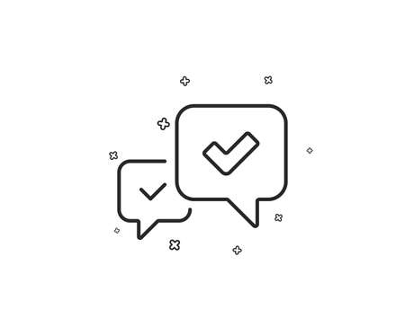 Approve line icon. Accepted or confirmed sign. Speech bubble symbol. Geometric shapes. Random cross elements. Linear Approve icon design. Vector