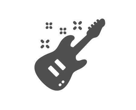 Electric guitar icon. Music sign. Musical instrument symbol. Quality design element. Classic style icon. Vector Illustration