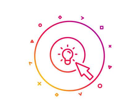 Idea lamp line icon. Mouse cursor sign. Light bulb symbol. Gradient pattern line button. Energy icon design. Geometric shapes. Vector