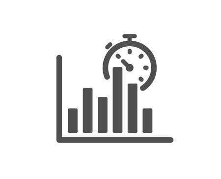 Report timer icon. Column graph sign. Growth diagram chart symbol. Quality design element. Classic style icon. Vector
