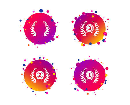 Laurel wreath award icons. Prize for winner signs. First, second and third place medals symbols. Gradient circle buttons with icons. Random dots design. Vector