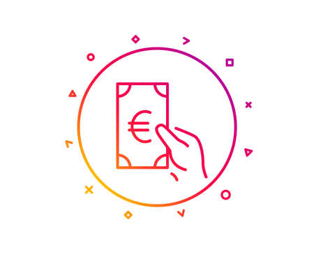 Hold Cash money line icon. Banking currency sign. Euro or EUR symbol. Gradient pattern line button. Finance icon design. Geometric shapes. Vector Foto de archivo - 126673416