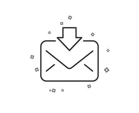 Mail download line icon. Incoming Messages correspondence sign. E-mail symbol. Geometric shapes. Random cross elements. Linear Incoming Mail icon design. Vector Иллюстрация