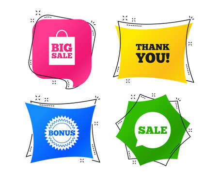 Sale speech bubble icon. Thank you symbol. Bonus star circle sign. Big sale shopping bag. Geometric colorful tags. Banners with flat icons. Trendy design. Vector