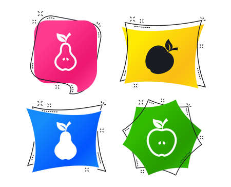 Fruits with leaf icons. Apple and Pear with seeds signs. Natural food symbol. Geometric colorful tags. Banners with flat icons. Trendy design. Vector