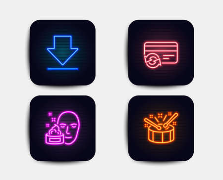 Neon glow lights. Set of Downloading, Face cream and Change card icons. Drums sign. Load information, Gel, Payment method. Drumsticks. Neon icons. Glowing light banners. Vector
