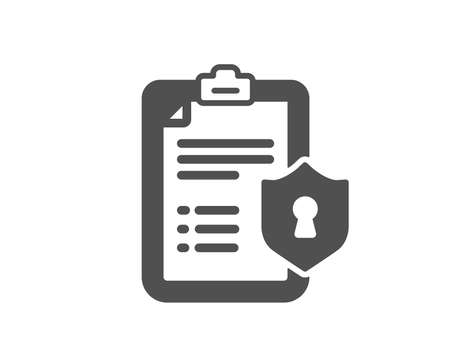 Checklist icon. Privacy policy document sign. Quality design element. Classic style icon. Vector