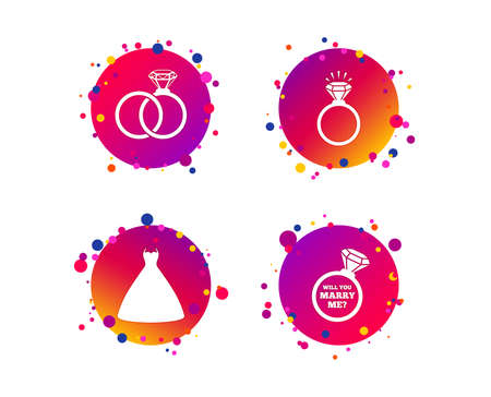 Wedding dress icon. Bride and groom rings symbol. Wedding or engagement day ring shine with diamond sign. Will you marry me? Gradient circle buttons with icons. Random dots design. Vector Stock Vector - 126673440