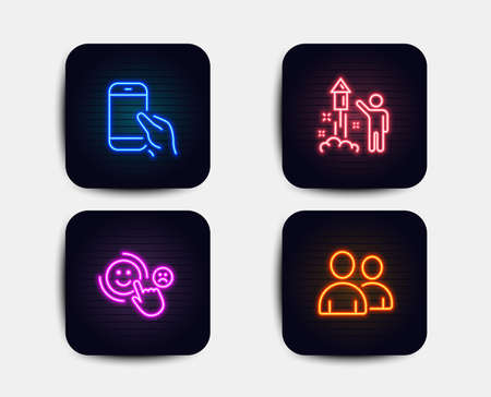 Neon glow lights. Set of Customer satisfaction, Fireworks and Hold smartphone icons. Users sign. Happy smile, Party pyrotechnic, Phone call. Couple of people. Neon icons. Glowing light banners