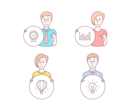 People hand drawn style. Set of Air balloon, Certificate and Column chart icons. Idea sign. Sky travelling, Verified award, Financial graph. Light bulb.  Character hold circle button. Vector