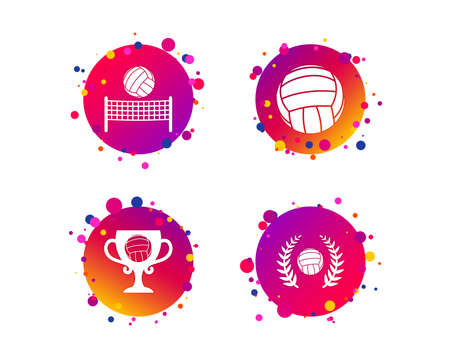 Volleyball and net icons. Winner award cup and laurel wreath symbols. Beach sport symbol. Gradient circle buttons with icons. Random dots design. Vector Illustration