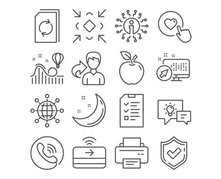 Set of Contactless payment, Idea lamp and Update document icons. International globe, Minimize and Printer signs. Like button, Interview and Roller coaster symbols. Vector