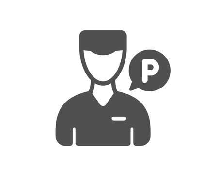 Valet servant icon. Parking person sign. Transport park service symbol. Quality design element. Classic style icon. Vector Standard-Bild - 114239957