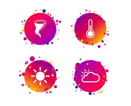 Weather icons. Cloud and sun signs. Storm symbol. Thermometer temperature sign. Gradient circle buttons with icons. Random dots design. Vector