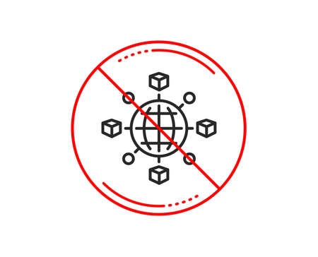 No or stop sign. Logistics network line icon. Parcel tracking sign. Goods distribution symbol. Caution prohibited ban stop symbol. No  icon design.  Vector