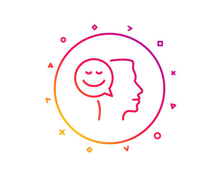 Positive thinking line icon. Human communication symbol. Smile chat sign. Gradient pattern line button. Good mood icon design. Geometric shapes. Vector