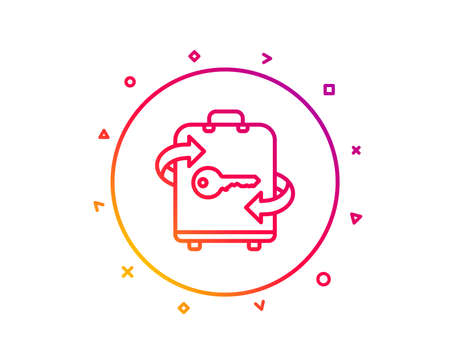 Luggage room line icon. Baggage Locker sign. Travel service symbol. Gradient pattern line button. Luggage icon design. Geometric shapes. Vector