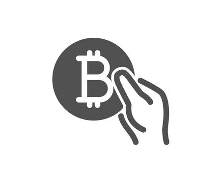 Bitcoin pay icon. Cryptocurrency coin sign. Crypto money symbol. Quality design element. Classic style icon. Vector