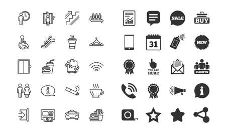 Public Services line icons. Set of Elevator, Cloakroom and Taxi signs. Exit, ATM and Escalator symbols. Wifi, Lift and Restaurant food. Information, Coffee and Smoking. Vector Imagens - 114239968