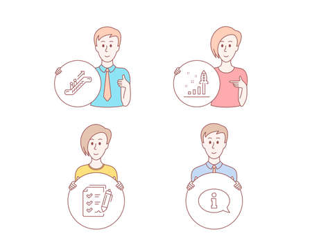 People hand drawn style. Set of Escalator, Survey checklist and Development plan icons. Information sign. Elevator, Report, Strategy. Info center.  Character hold circle button. Man with like hand