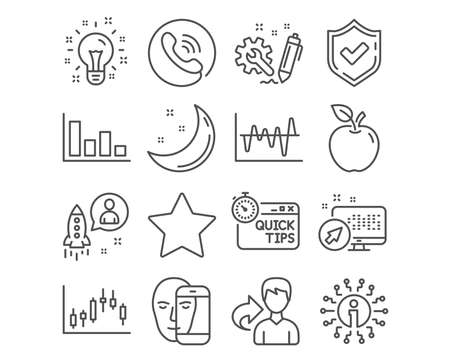 Set of Quick tips, Star and Idea icons. Histogram, Engineering and Candlestick graph signs. Startup, Stock analysis and Face biometrics symbols. Helpful tricks, Best rank, Creativity. Vector
