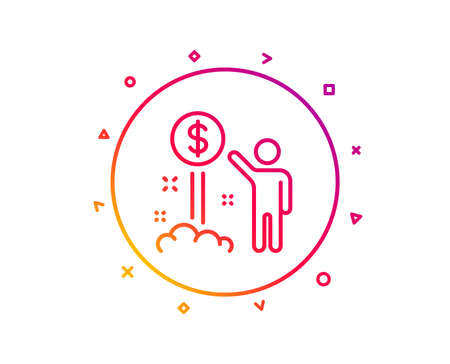 Income money line icon. Wealth sign. Credit card symbol. Gradient pattern line button. Income money icon design. Geometric shapes. Vector Illustration