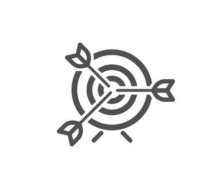 Target icon. Marketing targeting strategy symbol. Aim with arrows sign. Quality design element. Classic style icon. Vector