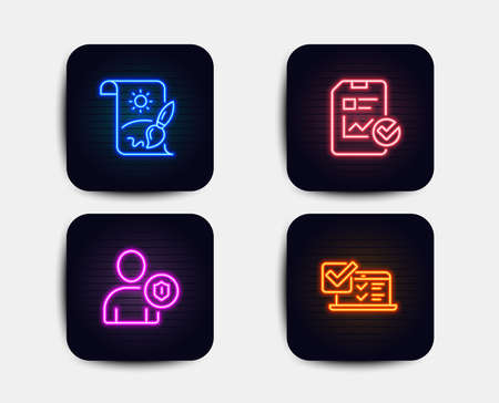 Neon glow lights. Set of Security, Report checklist and Creative painting icons. Online survey sign. Person protection, Sales growth file, Graphic art. Quiz test.  Neon icons. Glowing light banners Illustration