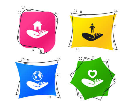 Helping hands icons. Heart health and travel trip insurance symbols. Home house or real estate sign. Geometric colorful tags. Banners with flat icons. Trendy design. Vector 矢量图像