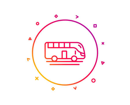 Bus tour transport line icon. Transportation sign. Tourism or public vehicle symbol. Gradient pattern line button. Bus tour icon design. Geometric shapes. Vector Stock Illustratie