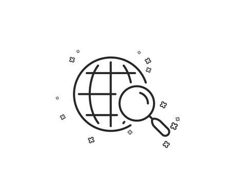 Web search line icon. Find internet results sign. Geometric shapes. Random cross elements. Linear Web search icon design. Vector