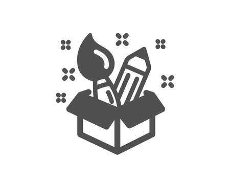 Creativity icon. Design idea sign. Brush and pencil symbol. Quality design element. Classic style icon. Vector