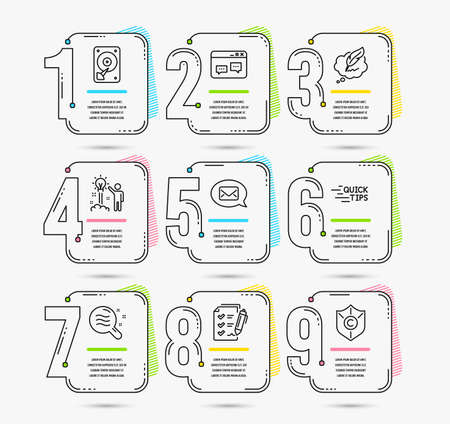Infographic timeline set of Survey checklist, Messenger and Skin condition icons. Hdd, Education and Copyright chat signs. Vector Reklamní fotografie - 114073235
