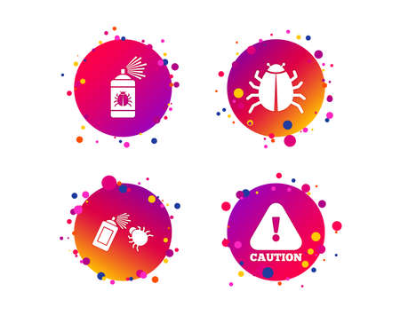 Bug disinfection icons. Caution attention symbol. Insect fumigation spray sign. Gradient circle buttons with icons. Random dots design. Vector Illustration