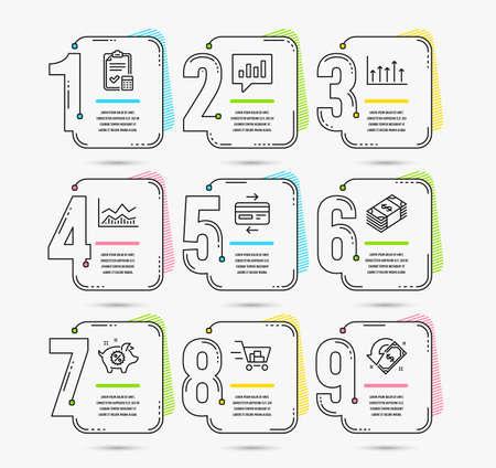Conjunto de línea de tiempo de infografía de iconos de infochart de comercio, moneda USD y venta de alcancía. Tarjeta de crédito, lista de verificación contable y carteles de carrito de compras. Vector