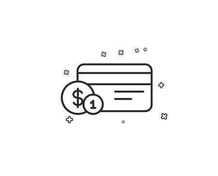 Credit card line icon. Banking Payment card with Coins sign. ATM service symbol. Geometric shapes. Random cross elements. Linear Payment method icon design. Vector Illustration