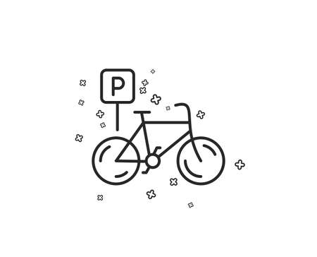 Bicycle parking line icon. Bike park sign. Public transport place symbol. Geometric shapes. Random cross elements. Linear Bicycle parking icon design. Vector Banque d'images - 114240089