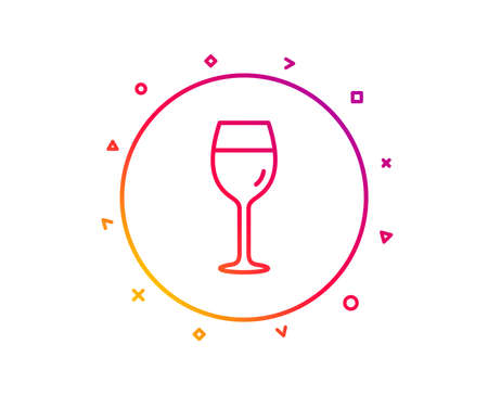 Wine glass line icon. Bordeaux glass sign. Gradient pattern line button. Wine glass icon design. Geometric shapes. Vector