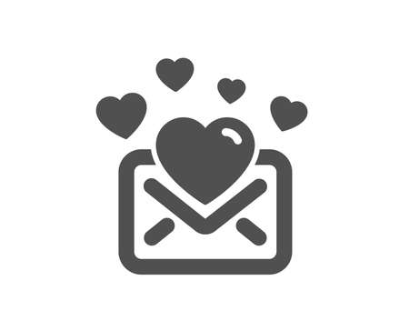 Love Mail icon. Valentines Message correspondence sign. E-mail symbol. Quality design element. Classic style icon. Vector