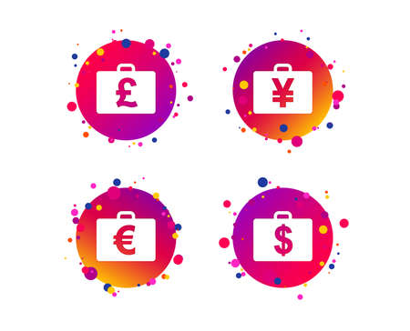 Businessman case icons. Cash money diplomat signs. Dollar, euro and pound symbols. Gradient circle buttons with icons. Random dots design. Vector 向量圖像