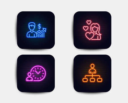 Neon glow lights. Set of Love, Business growth and Time management icons. Management sign. Woman in love, Earnings results, Work time. Agent.  Neon icons. Glowing light banners. Vector