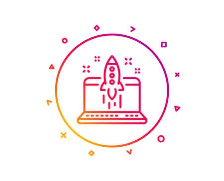 Iniciar el icono de línea empresarial. Lanzar signo de proyecto de crowdfunding. Símbolo de innovación. Botón de línea de patrón de degradado. Iniciar el diseño de iconos de negocios. Formas geométricas. Vector